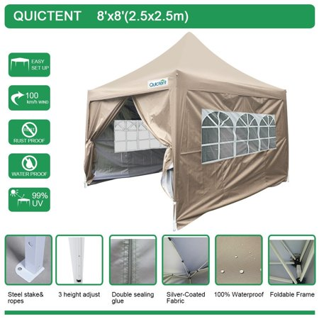 Silver Canopy (Quictent Silvox 8' x 8' EZ Pop Up Canopy Portable Waterproof Gazebo Pyramid Roof)