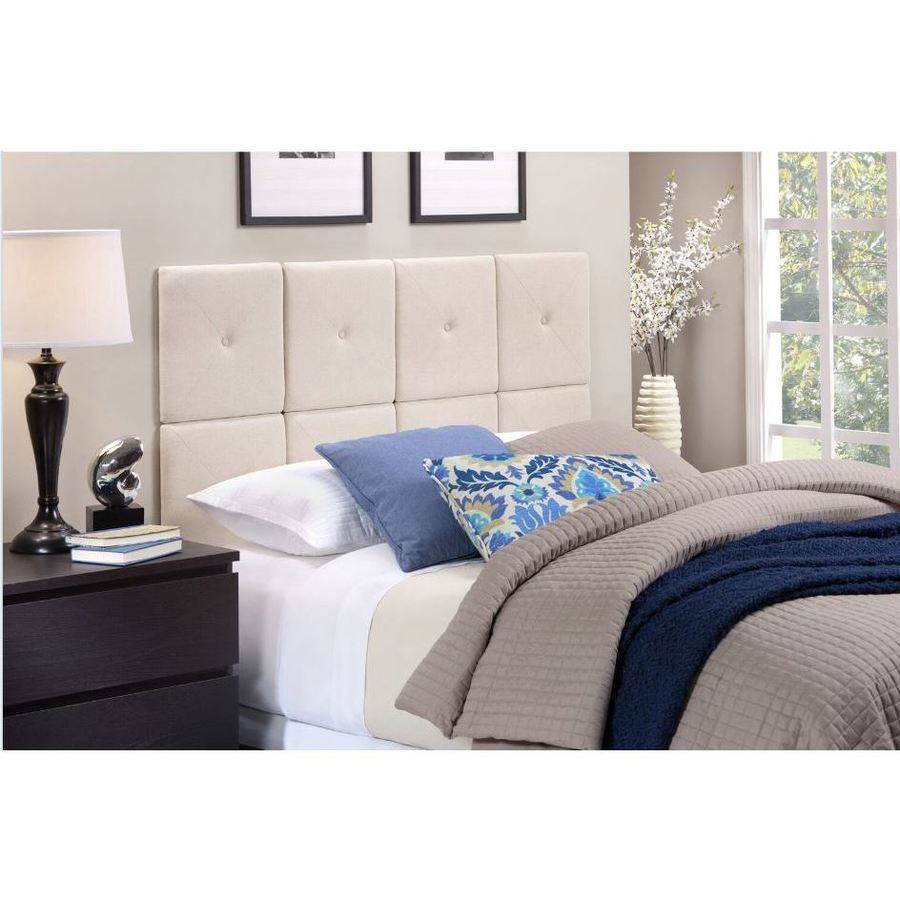 Foremost Tessa Natural Linen Tiled Headboard with X Seam and Tuft - Twin Size