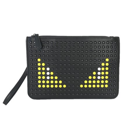 Fashion Culture Studded Monster Eyes Clutch Wristlet, Black