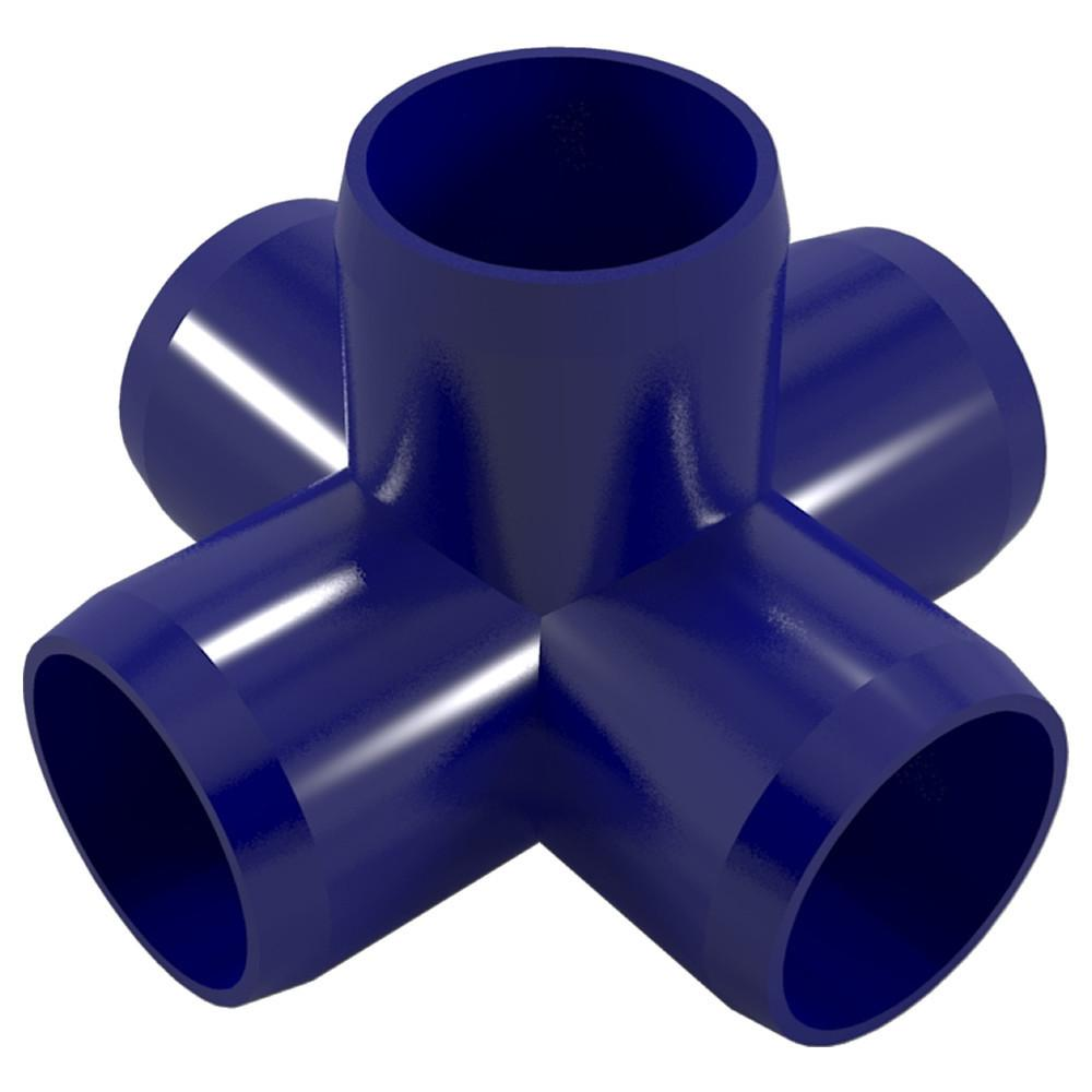 """5-Way PVC Cross Fitting, Furniture Grade, 1"""" Size, White (Pack of 4)"""