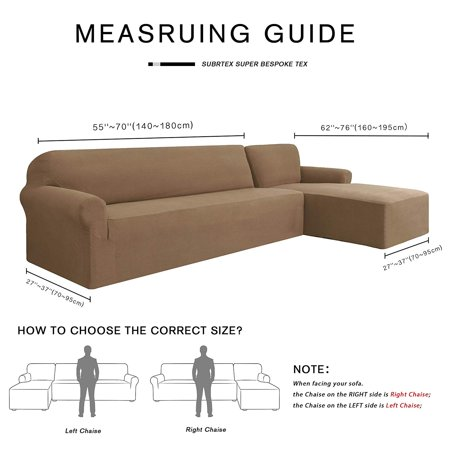 Subrtex Stretch 2-Piece Textured Grid L-Shaped Sectional Sofa Slipcover (2-Seater Right Chaise, Sand)