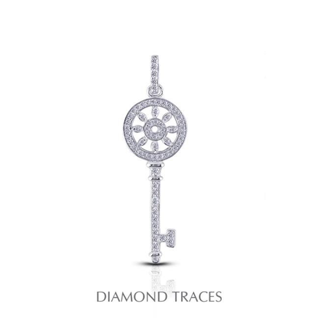 Diamond Traces 0.56 Carat Total Natural Diamonds 14K White Gold Pave Setting Key Fashion Pendant