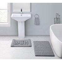 VCNY Home Heathered Grey Text 2-Piece Bath Rug Set, Grey