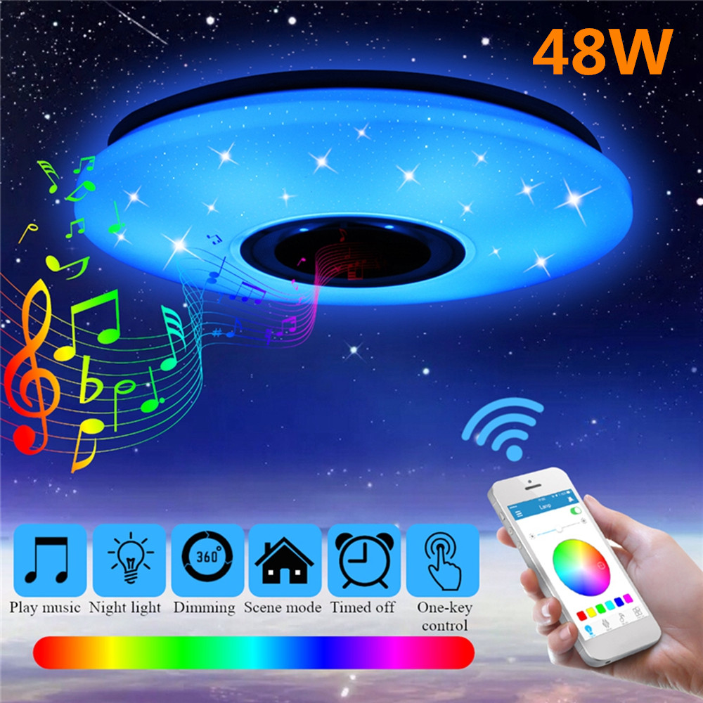 High Sound Quality Speaker Upgrade Music Ceiling Light with Bluetooth Speaker Smart APP and Remote Control 24W RGB Color Changing Family Party Star Lights Dimmable Modern Flush Mount Ceiling lamp
