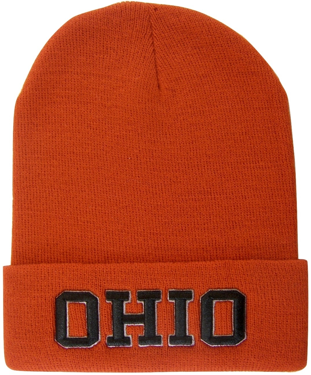 Red Ohio state beanie hat with black script