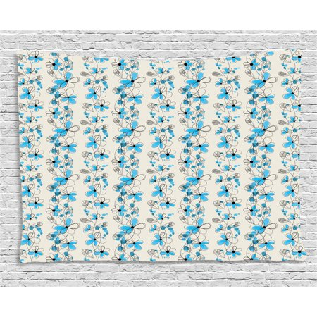 grey and blue tapestry childish drawing of a field with blue daisy petals and skinny stems. Black Bedroom Furniture Sets. Home Design Ideas