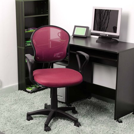 Pink Office Computer Chair With Arms With Fabric Pads
