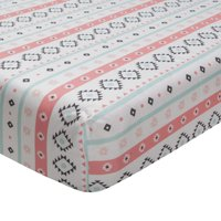 Lambs & Ivy Little Spirit Cotton Fitted Crib Sheet - White, Coral, Modern