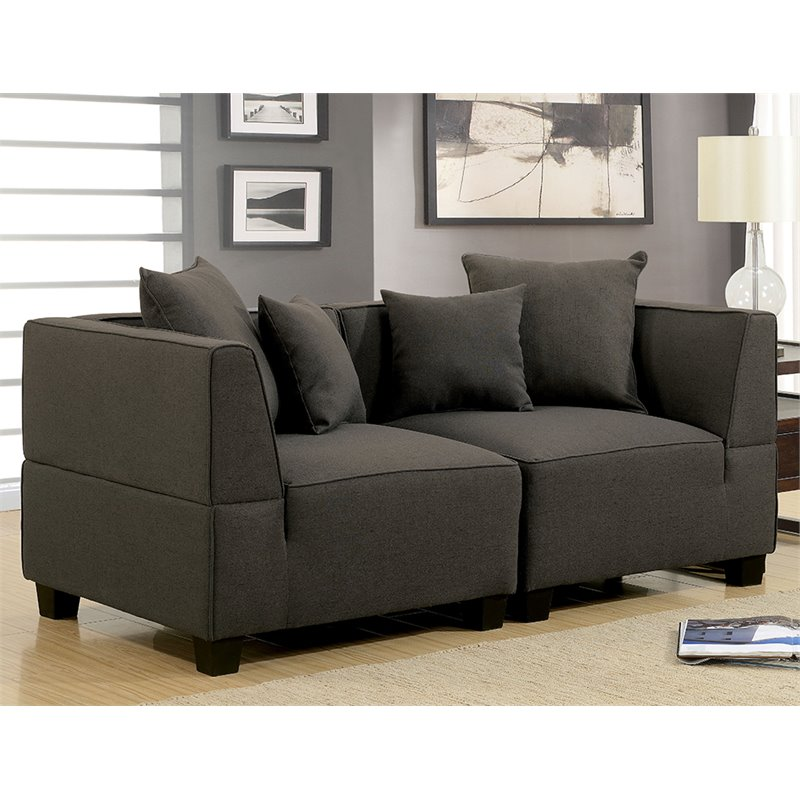 Furniture of America Brandy 2 Piece Loveseat in Gray