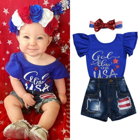 The Noble Collection My First 4th of July Newborn Baby Girl Outfits Romper Short Jeans Clothes (4th Of July Outfit)