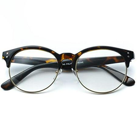 9a053b1107f Clear Half Frame Round Retro Non Prescription Glasses - Walmart.com