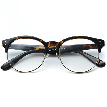 Clear Half Frame Round Retro Non Prescription Glasses
