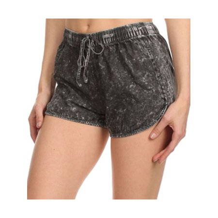 Juniors Summer Booty Denim Style Cotton Draw String Shorts Black L