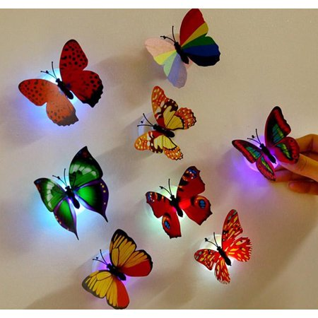 Staron 10 Pcs Wall Stickers Butterfly LED Lights Wall Stickers 3D House Decoration (random color)