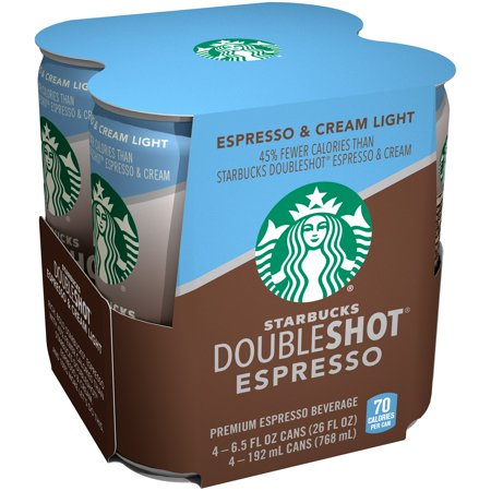 Starbucks Doubleshot Espresso, Espresso & Cream Light, 6.5 Fl Oz, 4 Count