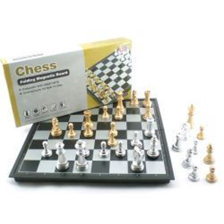 Gold And Silver Magnetic Folding Chess Set Game