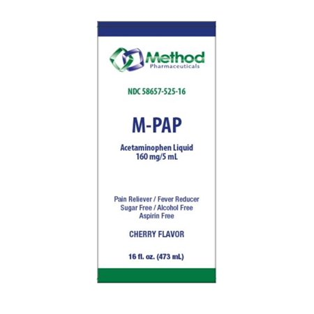 Method Pharma M-PAP Acetaminophen Liquid 160mg/5 mL, Cherry Flavored, 16 fl
