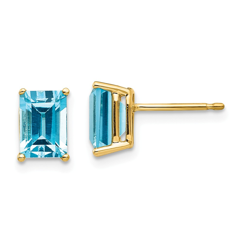 14k Yellow Gold 7x5mm Emerald Cut Blue Topaz Earrings. Gem Wt- 2.6ct