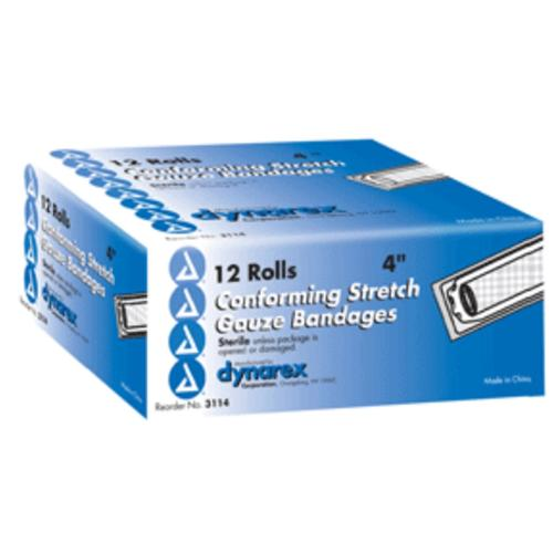 Conform Stretch Gauze Bandages, Sterile 4 Inches X 4.1 Yards, 12 Rolls