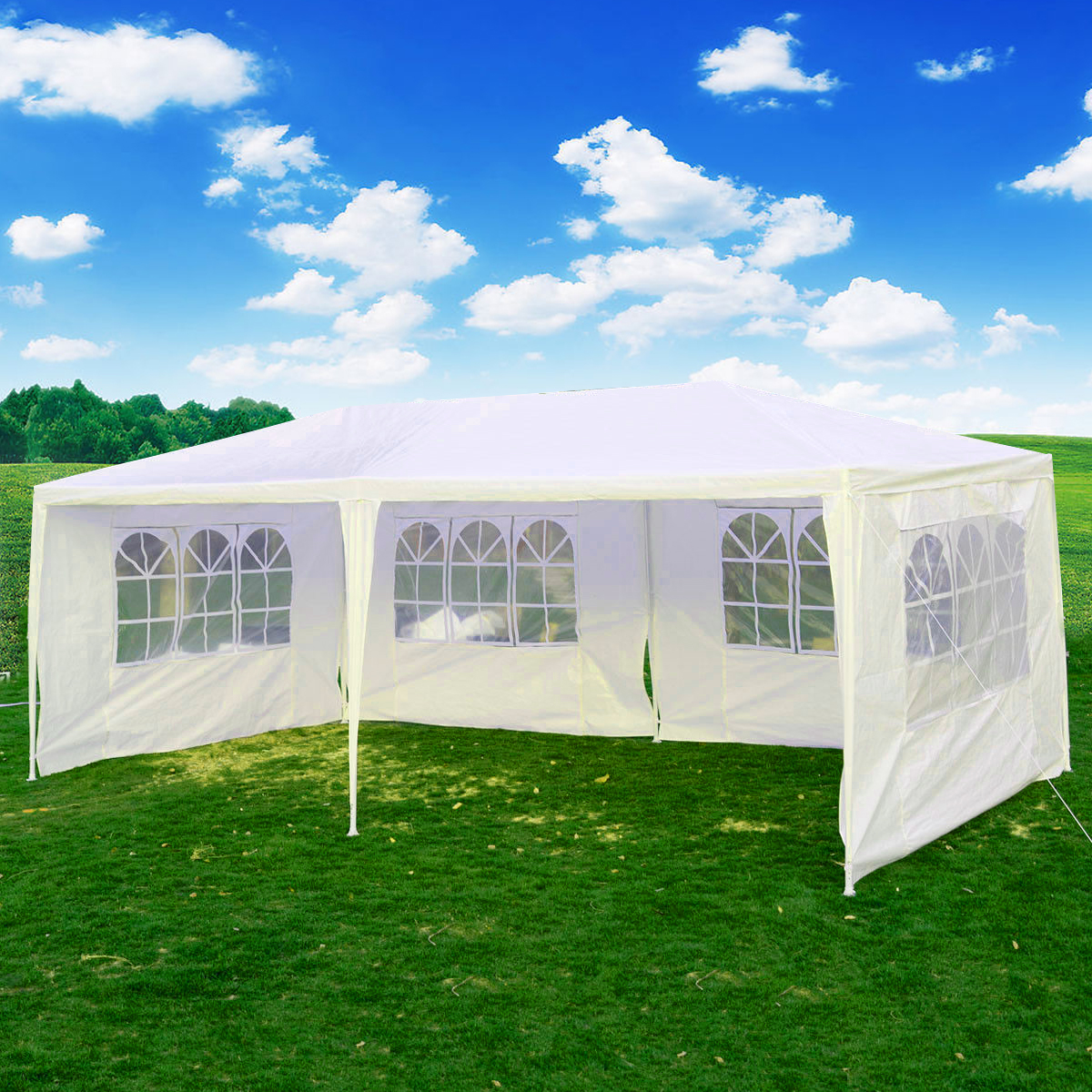 eWarehouseDirect Wedding Party Tent Outdoor 10'x20' Easy Set Gazebo BBQ Canopy Cater Events White by