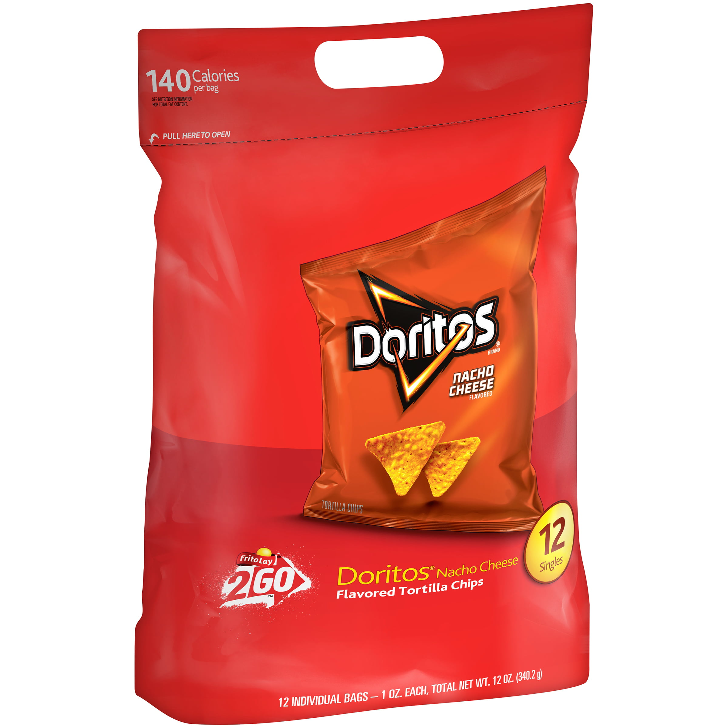 (2 Pack) Doritos Nacho Cheese Flavored Tortilla Chips (12-1 Oz) 12 Ounce 12-Pack Bag