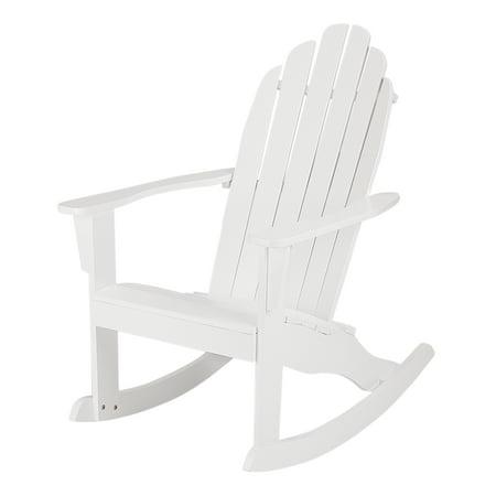 Mainstays White Wood Outdoor Adirondack Rocking Chair Walmart Com