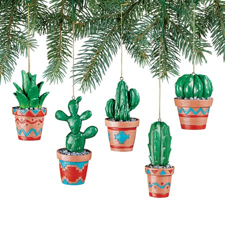 Southwestern Cactus Ornaments Set - Detailed Aztec Pottery Designs, 5 Pc ()