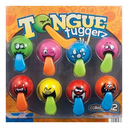 WHOLESALE LOT OF 100 TONGUE TUGGERS BALLS, CARNIVALS, PARTY FAVORS, VENDING BY TM, SUPER COLORFUL BALLS WITH STRETCHY TONGUES By DISCOUNT PARTY AND NOVELTY