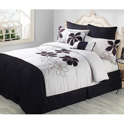 DISCONTINUED*** Fulton 8 Piece Comforter Set, Black and White