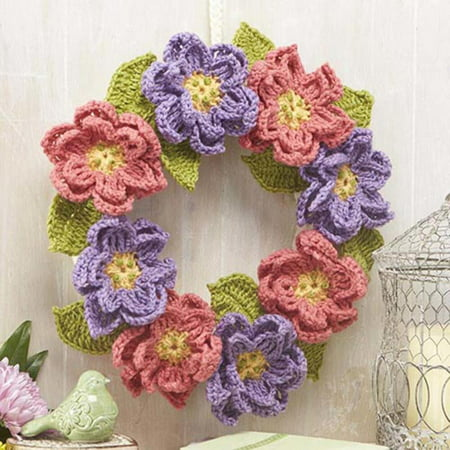 Herrschners Garden Flower Wreath Crochet Yarn Kit - Walmart.com
