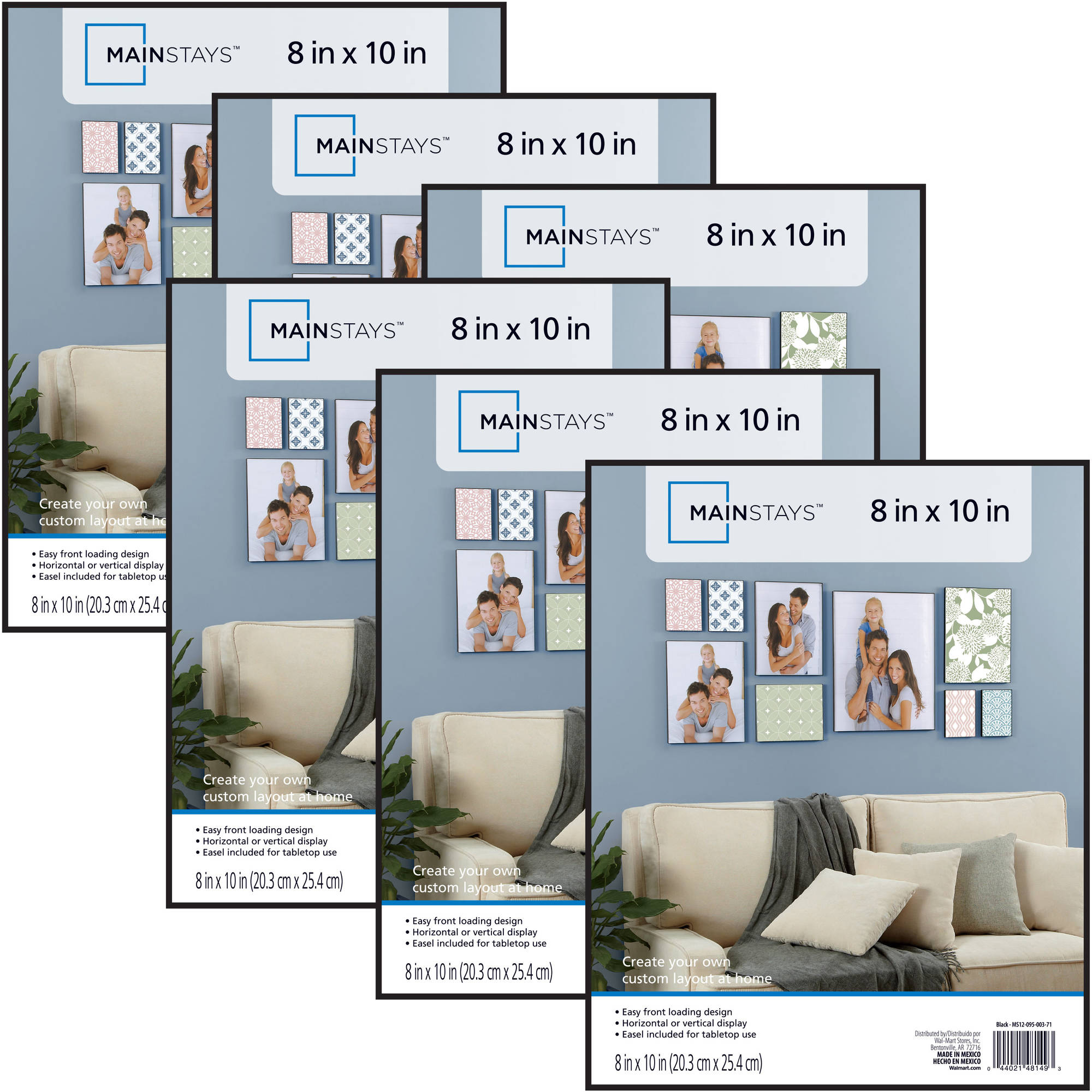 Mainstays 8x10 Format Picture Frame, Set of 6