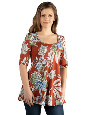 24seven Comfort Apparel Rust Floral Elbow Sleeve Maternity Swing Tunic Top in Print Size 3X