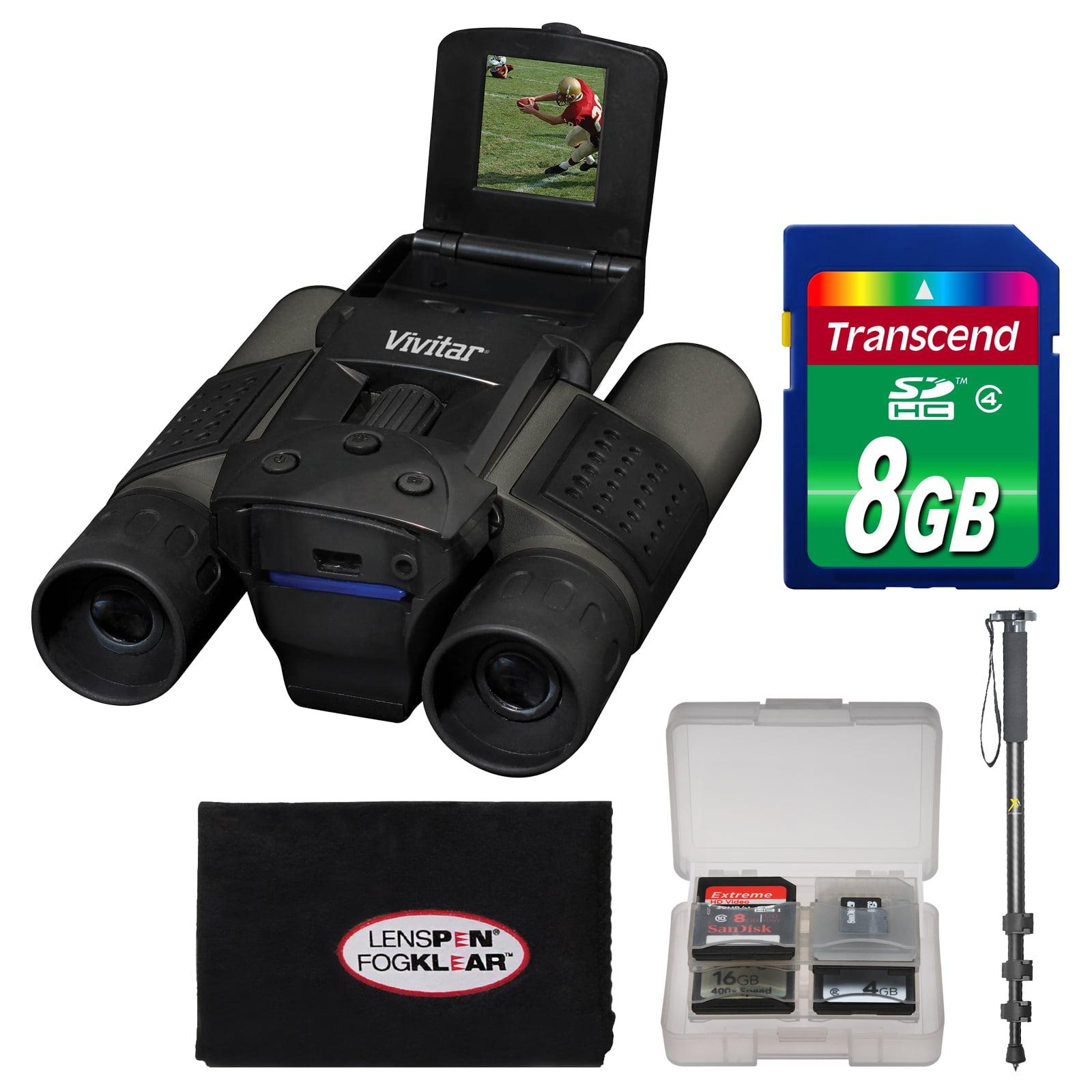 Vivitar 12x25 Binoculars with Built-in Digital Camera with 8GB Card + Monopod + Accessory Kit by Vivitar