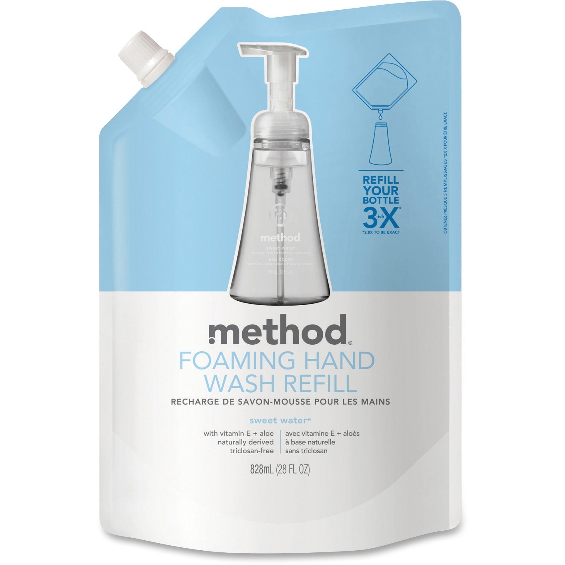 Method, MTH00662CT, Sweet Water Foam Hand Wash Refill, 6 / Carton, Clear