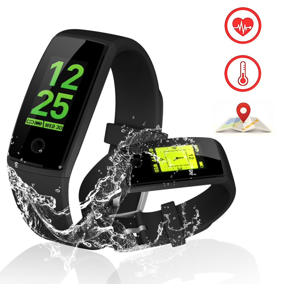 Fitness Tracker Watch With Heart Rate Monitor, Activity Tracker Smart Band With Blood Pressure,Colorful Screen,Step Counter,Sleep Monitor,GPS Waterproof Tracker For Women Men Children