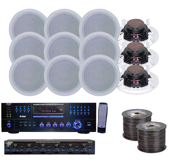 Pyle 6 Room Home In-Ceiling Speakers W/DVD/MP3 Amp System