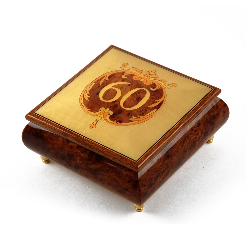Handcrafted 60th Anniversary or Birthday with Ornament Frame Musical Jewelry Box - La Traviata
