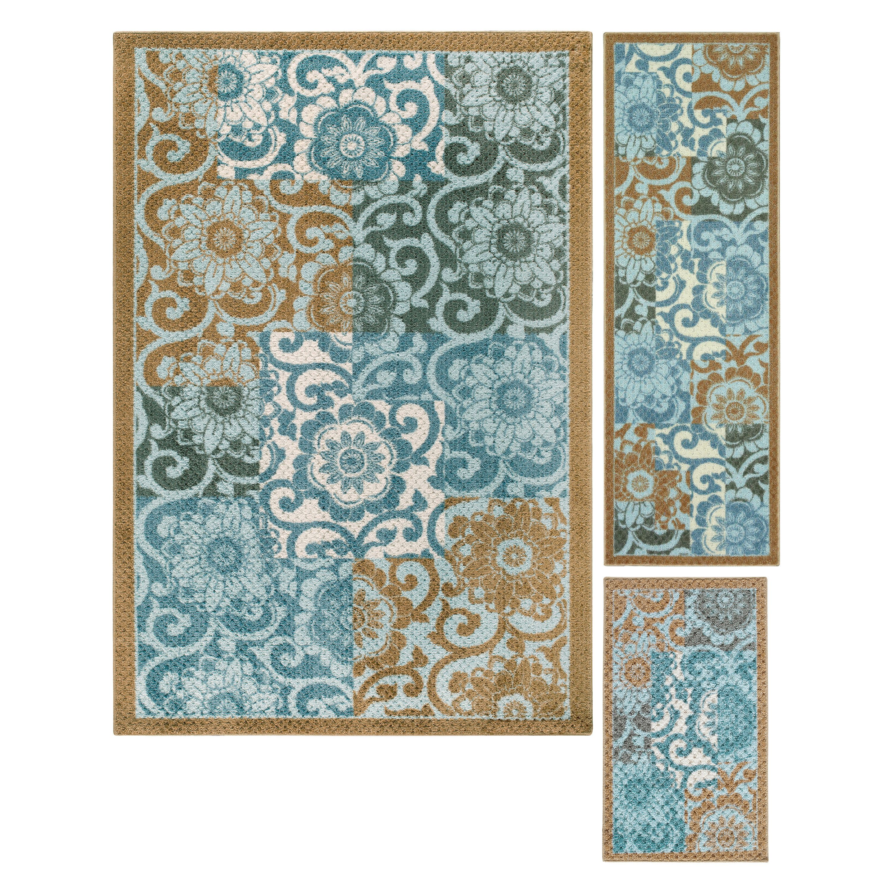 Better Homes and Gardens Peony Blocks Textured Print 3-Piece Area Rug Set