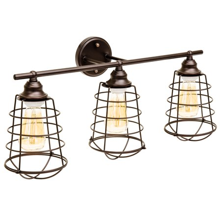 Best Choice Products Industrial Style, 3 Light, Bathroom Vanity Light Fixture (Bronze) (Sparkly Light Fixture)