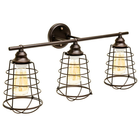 Best Choice Products Industrial Style, 3 Light, Bathroom Vanity Light Fixture (Bronze) (Reflections 3 Light Vanity)