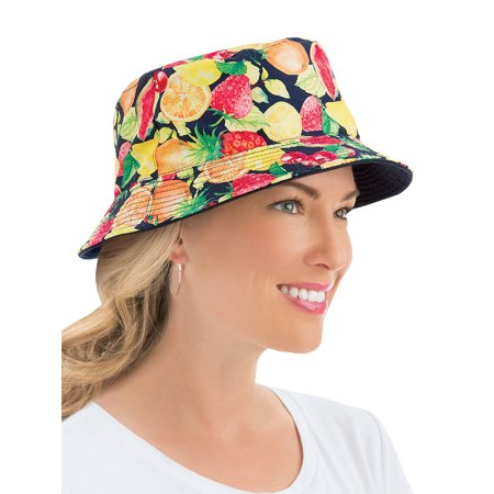 Ladies Summer Print Reversible Bucket-Style Sun Hat, One Size, Fruit - Fruit Hat