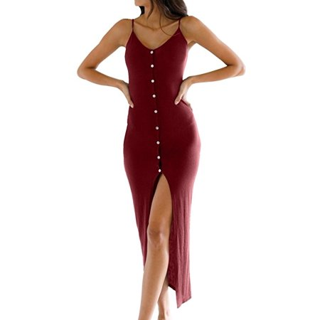 Adjustable Dress - Women's Button Down Adjustable Spaghetti Straps Summer Dress Sleeveless Bodycon Party Maxi Dress