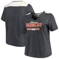 Denver Broncos Majestic Women's Notch Neck Plus Size T-Shirt - Heathered Navy