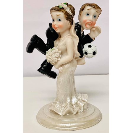 Soccer Wedding Cake Topper Bride And Groom Decoration Gift