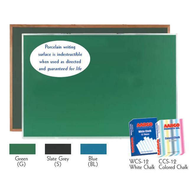 Aarco Products OS3660G Porcelain on Steel Chalkboard Red Oak Frame - Green