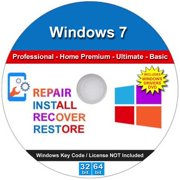 Windows 7 All Versions Professional Home Premium Ultimate Basic Repair Re-install Recover Restore 32/64 DVD & 2019 Drivers
