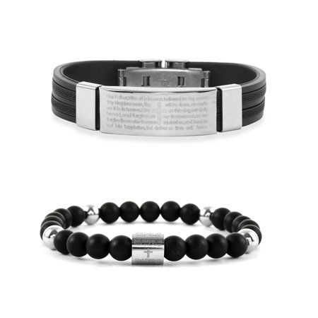 Shop LC Delivering Joy Unique Set of 2 Stainless Steel Round Beads Black Onyx Bracelet for Mothers Day Gifts Jewelry for Women Size 7