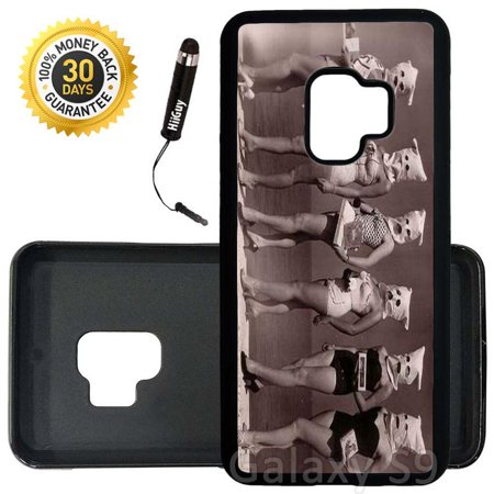 Custom Galaxy S9 Case (Funny Retro Beauty Contest) Edge-to-Edge Rubber Black Cover Ultra Slim   Lightweight   Includes Stylus Pen by