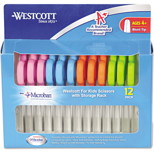 "Westcott Kids Scissors with Microban Protection, Pack of 12, 5"", Blunt"