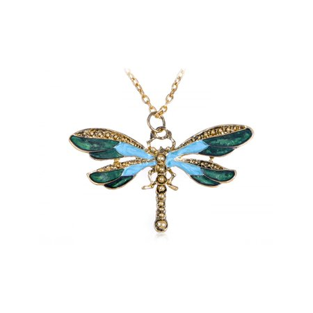 Painted Wing Dragonfly Antique Blue Green Brass Tone Pendant Necklace (Lighted Necklace)